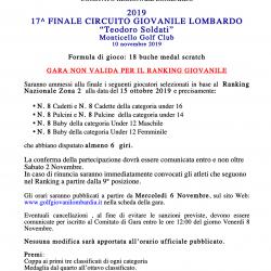 Novembre - Elenco finalisti circuito giovanile Teodoro Soldati